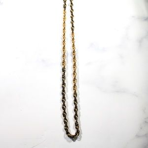 Vintage Monet Gold Tone and Black Chain Necklace